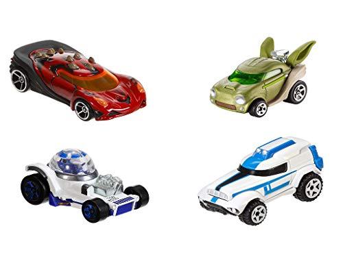 Hot Wheels. Star Wars 4er Set Matchbox Autos Krieg der Sterne (Yoda, Darth Maul, R2D2, Clone Trooper)