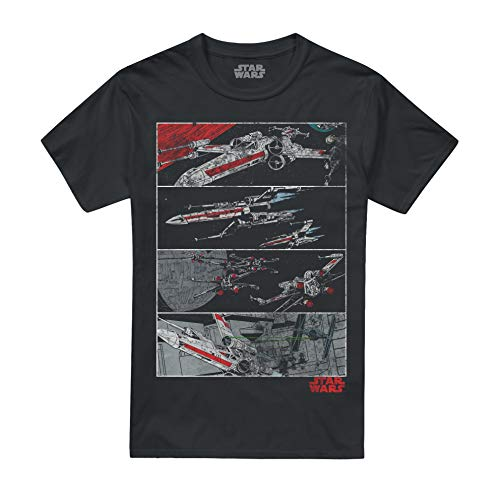 Star Wars Herren X-Wing Panels T-Shirt, Schwarz (Black Blk), Medium