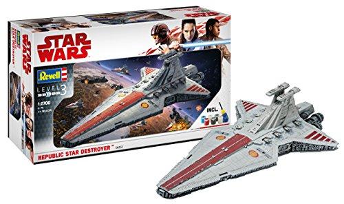 Revell 06053 Modellbausatz, Star Wars 1:2700-Republic Destroyer, Level 3, orginalgetreue Nachbildung mit vielen Details-06053