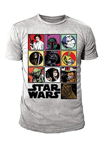 Star Wars - Retro Comic Herren T-Shirt STAR WARS SCHURKEN & HELDEN ICONS Grau (L)