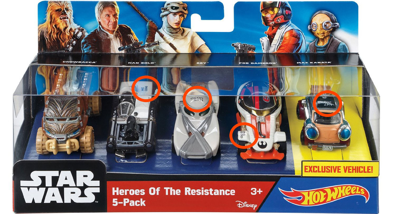 Hot Wheels Star Wars Heroes of the Resistance 5-Pack – Bild der Box aufgetaucht